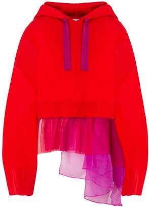 In.No Red Brittney Organza Layered Hoodie