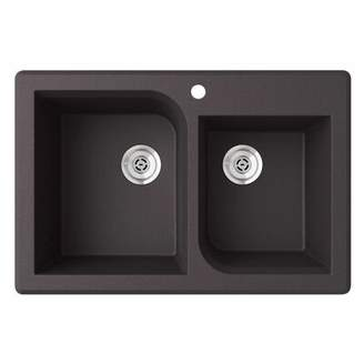 "Swan Granite 33"" x 22"" Double Basin Drop-In Kitchen Sink Finish: Nero"