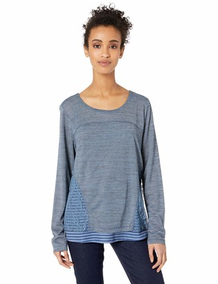 One World ONEWORLD Women's Top with Crochet Details at Bottom and Stripes