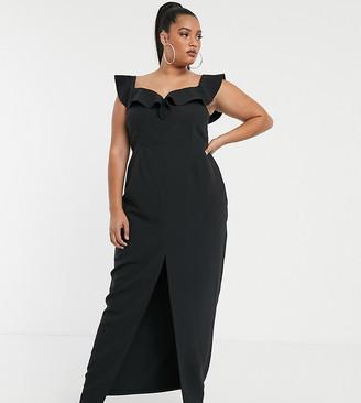 Vesper Plus bardot maxi dress with frill in black