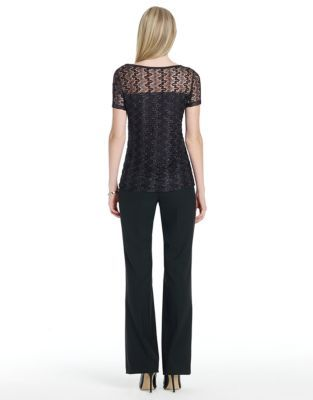 Jones New York Signature JONES NEW YORK Short-Sleeve Lace Top