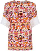 Pucci Pleated Sleeve Silk Blouse