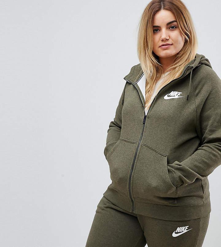Nike Plus Rally Full Zip Hoodie In Khaki