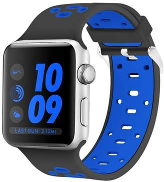 POSH TECH Black/Blue Breathable Silicone 42mm Apple Watch 1/2/3/4 Sport Band