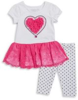Flapdoodles Little Girls Heart Tunic and Leggings Set