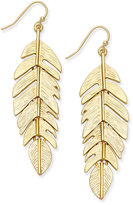 INC International Concepts Gold-Tone Feather Drop Earrings, Only at Macy's