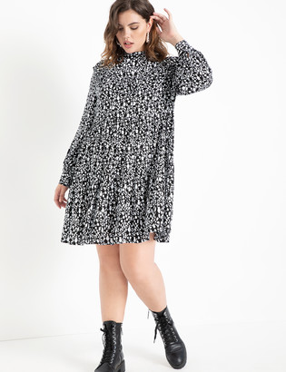 ELOQUII Tiered Easy Dress Ruffle Yoke