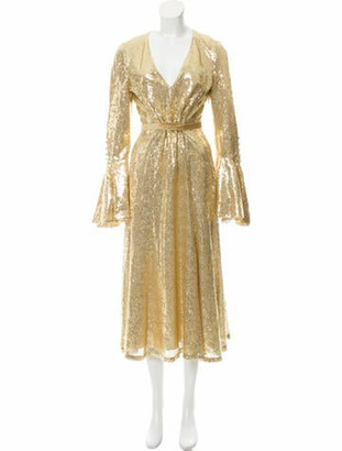 Prabal Gurung Sequin Midi Dress w/ Tags Gold