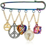 Betsey Johnson Harlem Oil Slick Plated Safety Pin Brooch Featuring Multiple Charms