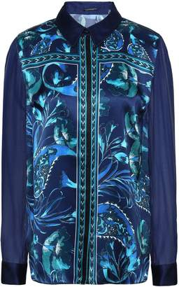 Elie Tahari Ingunn Georgette-paneled Printed Silk-satin Shirt