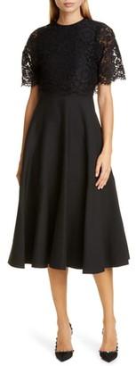 Valentino Lace Popover Crepe Couture Midi Dress