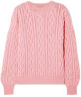 Emilia Wickstead Olive Cable-knit Merino Wool Sweater