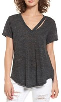 Lush Women's Slit V-Neck Tee