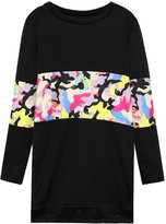 uxcell® Lady Crew Neck Camouflage Pattern Zipper Sides Tunic Top S