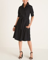 Chico's Chicos Solid Tie-Waist Shirt Dress