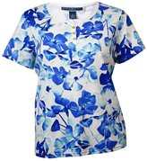 Karen Scott Womens Plus Stretch Floral Print Henley Top Blue