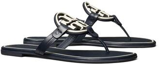 Tory Burch Miller Metal-Logo Sandal, Leather