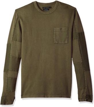 French Connection Men's Patchwork Crewneck Reg Fit Long Sleeve Shirt