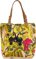 Jamin Puech Embroidered detail tote - women - Raffia/Leather - One Size
