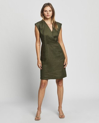 David Lawrence Women's Green Wrap Dresses - Helene Linen Wrap Dress - Size One Size, 10 at The Iconic