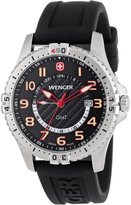 Wenger Men's 77075 Squadron GMT Black Dial Rubber Strap Watch