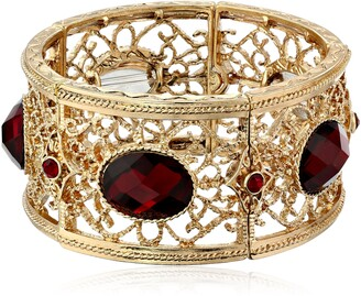 "1928 Jewelry Jeweled Filigree"" Gold-Tone Red Faceted Oval Filigree Stretch Bracelet"