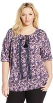 Lucky Brand Women's Plus-Size Embroidered Peasant Top