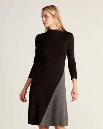 Calvin Klein Black & Heather Charcoal Color Block Sweater Dress