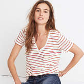 Madewell Whisper Cotton V-Neck Pocket Tee in Abilene Stripe