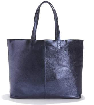 La Redoute Collections Reversible Metallic Leather/Suede Shopper