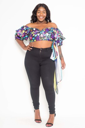 Couture Buxom Printed Floral Crop Top Size 1X