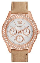 Fossil Women's 'Stella' Crystal Bezel Leather Strap Watch, 38Mm