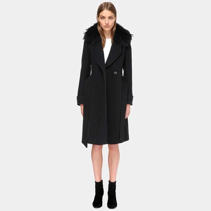 Mackage Nia Fur Trim Wool Coat