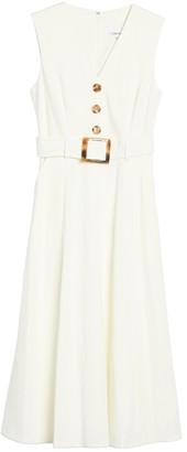 Calvin Klein V-Neck Sleeveless Belted Midi Dress