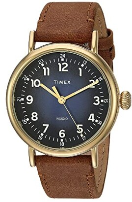 Timex 40 mm Standard Leather Strap (Blue/Tan) Watches