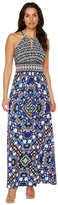 Maggy London T2658MNR Mixed Ikat Halter Sheath Dress