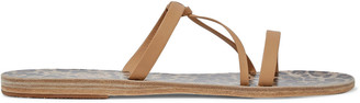 Ancient Greek Sandals Spetses Knotted Metallic Textured-leather Sandals