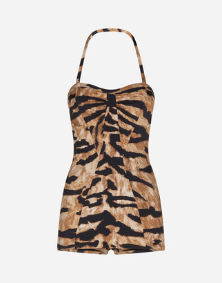 Dolce & Gabbana One-Piece Swimsuit With Tiger Print