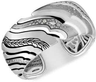 John Hardy Lahar Sterling Silver & Two-Tone Diamond Large Kick Cuff