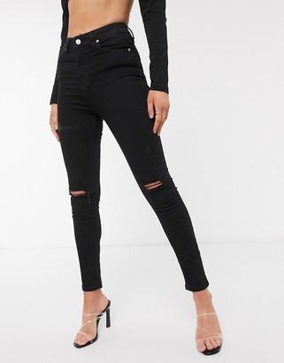 NA-KD high waist ripped skinny jeans in black