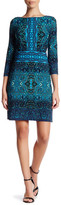 London Times 3/4 Length Sleeve Printed Shift Dress (Petite)