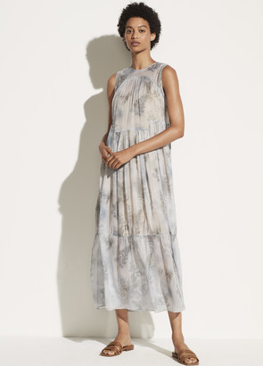 Vince Botanical Shirred Silk Dress