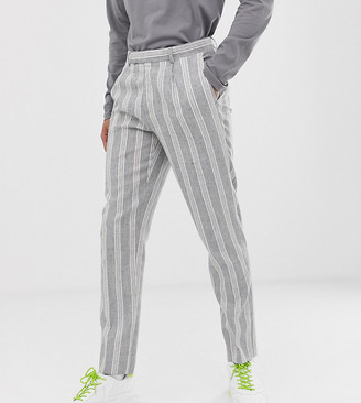Asos Design DESIGN Tall skinny crop smart trousers in grey linen stripe