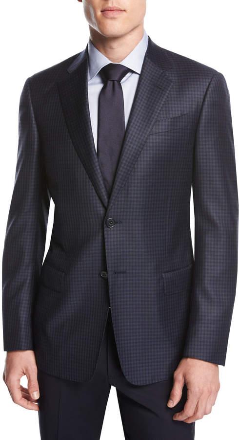 Giorgio Armani Small-Check Wool Two-Button Sport Coat, Navy
