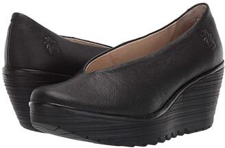 Fly London Yaz Wide (Black Mousse) Women's Shoes