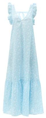 Ganni Tie-back Floral-print Cotton Maxi Dress - Blue Print
