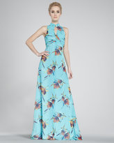 Mandarin-Collar Maxi Dress