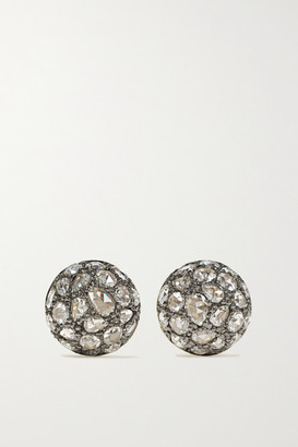 Fred Leighton Collection Sterling Silver-topped 18-karat Gold Diamond Earrings - one size