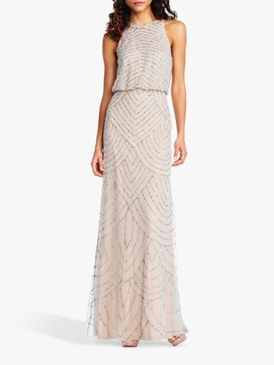 Adrianna Papell Beaded Halterneck Gown, Silver/Nude