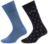 Hugo Boss Boss Dots Plain Socks, Pack Of 2, Navy